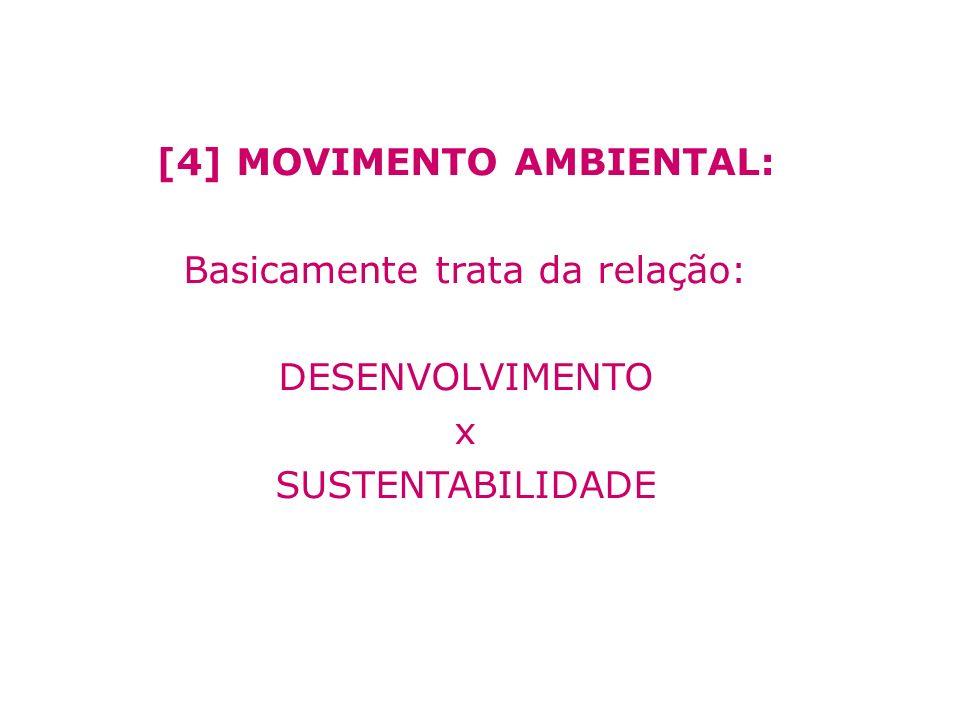 [4] MOVIMENTO AMBIENTAL: Basicamente trata da relação: DESENVOLVIMENTO